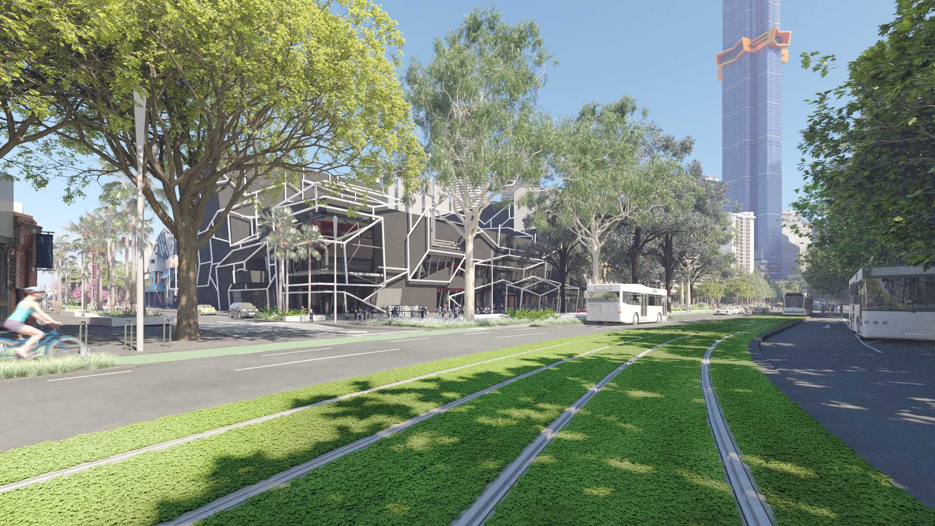 Southbank Boulevard's Green Makeover Has Begun with the Installation of Plant-Covered Tram Tracks
